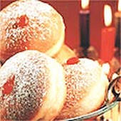 Sufganiyah, fried jelly donuts - a Chanukah delicacy!  pic courtesy of wikipedia.