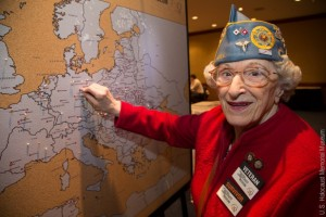 Survivor AND WWII Veteran, Hanna Deutch pins her location at the end of the war  http://neveragain.ushmm.org/slideshow/photo-gallery-new-york-tour-stop