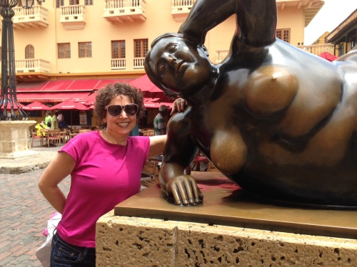 Patting this Botero's statue is said to bring luck.  She's the one on the right.