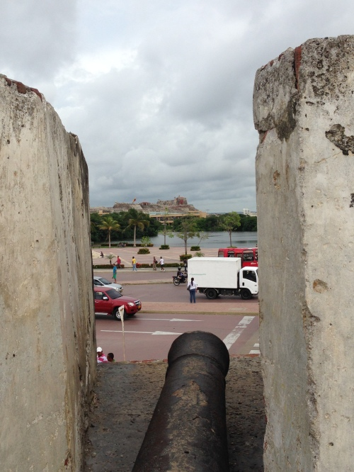 Looking through the old city to the castle/fort San Filipe d'Baraias