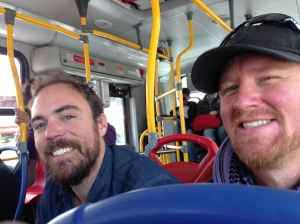 Mike (right) and his buddy showed me the ropes of taking a bus and their experience as Expats.  On their way for a casting call, Mike will be playing a dead guy in a Micky Rourke movie