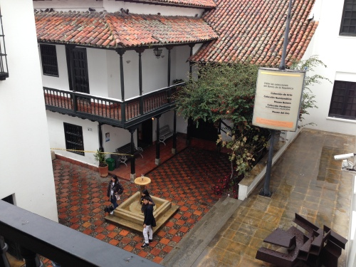 Passing through one museum into another in Bogota's center
