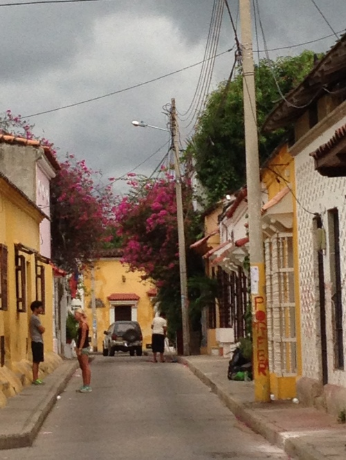 Looking down a street in Getsemani, the neighborhood outside the 'old city' and where I spend my days teaching.  A neighborhood that appears ripe for gentrification