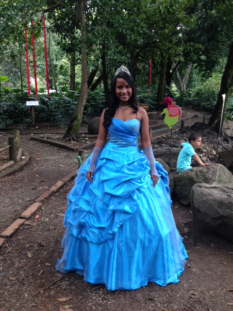 'Quinceanera', the celebration for a girl's 15 is their opportunity to dress as a princess.  I saw several young girls strolling through Medellin's lovely Botanic Garden.