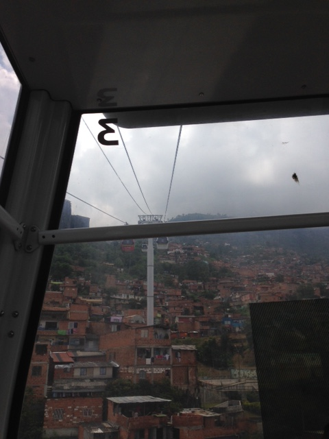 View from the cable car showing the many slums of Medellin, ironically on the way to one of the primo tourist spots.