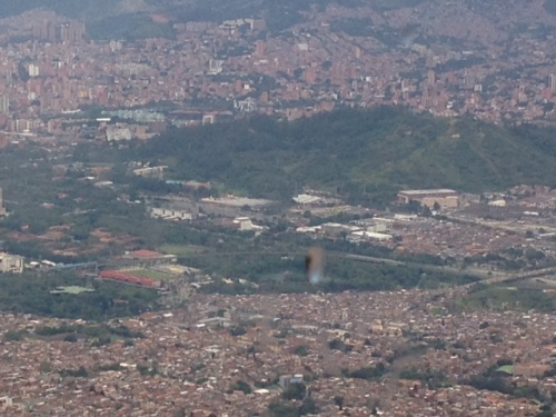 Medellin as seen from the Metrocable (car) on the way to the park on the top of the mountain.