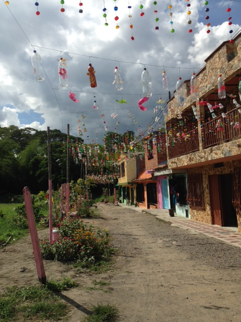A decorated street in the barrio where the primary school is. The coolest decorations I've seen!