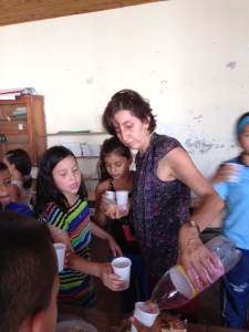 Nancy, the primary teacher is one of the most gracious and joyous people I met in La Virginia.  Here she is on the last day pouring soda in between taking pics, dancing, and celebrating the kids.