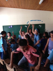 Dancing on the last day of school.  I had a salsa lesson from these 10 year olds.